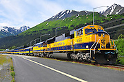 Alaska train engine yellow Seward