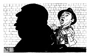 (Caricatures of film directors Mel Brooks and behind him a large shadow of Alfred Hitchcock in a review of film High Anxiety)