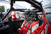 June 30, 2013 - Pikes Peak, Colorado.   Greg Tracy prepares to make his run up the mountain during the 91st running of the Pikes Peak Hill Climb.