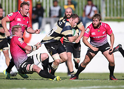 Pumas captain Renaldo Bothma drags Christopher Bosch of Boland down short of the try line during the Currie Cup premier division match between the Boland Cavaliers and The Pumas held at Boland Stadium, Wellington, South Africa on the 2nd September 2016<br /> <br /> Photo by:   Shaun Roy/ Real Time Images