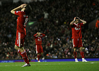 Yossi Benayoun of Liverpool with his hands on his face after nearly scoring<br />