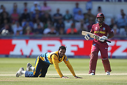 July 1, 2019 - Chester Le Street, County Durham, United Kingdom - Jeffrey Vandersay of Sri Lanka looks on after the ball went past him for four during the ICC Cricket World Cup 2019 match between Sri Lanka and West Indies at Emirates Riverside, Chester le Street on Monday 1st July 2019. (Credit Image: © Mi News/NurPhoto via ZUMA Press)