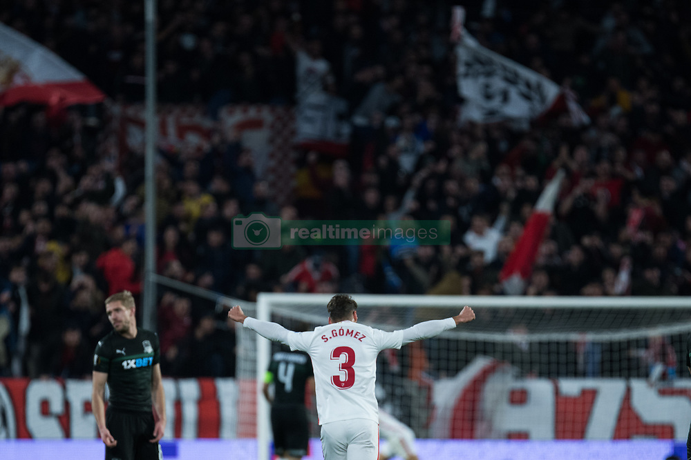 December 13, 2018 - Seville, Andalucia, Spain - Sergi Gomez of Sevilla FC celebrate the second goal of Sevilla FC during the Europa League match between Sevilla FC and Krasnodar in Ramón Sánchez Pizjuán Stadium (Seville) (Credit Image: © Javier MontañO/Pacific Press via ZUMA Wire)