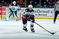 KELOWNA, BC - FEBRUARY 28: Mark Liwiski #9 of the Kelowna Rockets skates with the puck against the Everett Silvertips at Prospera Place on February 28, 2020 in Kelowna, Canada. (Photo by Marissa Baecker/Shoot the Breeze)