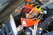 Jeff Gordon prepares for practice run for a NASCAR Sprint Cup series auto race, Friday, May 9, 2014, at Kansas Speedway in Kansas City, Kan. (AP Photo/Colin E. Braley)