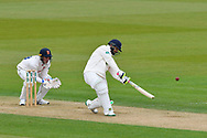 50 for Rilee Rossouw of Hampshire - Rilee Rossouw of Hampshire hits the ball over the boundary for six runs to bring up his half century during the first day of the Specsavers County Champ Div 1 match between Hampshire County Cricket Club and Essex County Cricket Club at the Ageas Bowl, Southampton, United Kingdom on 5 April 2019.