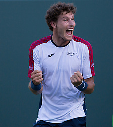 March 29, 2018 - Key Biscayne, Florida, United States - Pablo Carreno Busta, from Spain, celebrates his victory against Kevin Anderson, from South Africa, during his quarter final match at the Miami Open in Key Biscayne. Carreno Busta defeated Anderson 6-4, 5-7, 7-6(6) in Miami, on March 29, 2018. (Credit Image: © Manuel Mazzanti/NurPhoto via ZUMA Press)