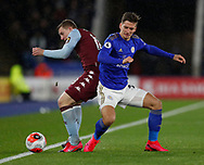 Matt Targett of Aston Villa tackled by Dennis Praet of Leicester City during the Premier League match at the King Power Stadium, Leicester. Picture date: 9th March 2020. Picture credit should read: Darren Staples/Sportimage
