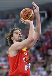 Pau Gasol of Spain during the EuroBasket 2009 Group F match between Spain and Turkey, on September 12, 2009 in Arena Lodz, Hala Sportowa, Lodz, Poland.  (Photo by Vid Ponikvar / Sportida)