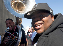 29 Oct, 2005.  New Orleans, Louisiana.  Post Katrina.<br /> Let the good times roll. Voodoo Fest tribute concert at Riverview Park. L/R Damian Francois and JP Brooks of the Soul Rebels Brass Band.<br /> Photo; ©Charlie Varley/varleypix.com