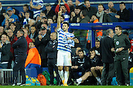 Charlie Austin of Queens Park Rangers giving a thumbs up to the home supporters as he celebrates after scoring his teams third goal to make it 3-2. Barclays Premier league match, Queens Park Rangers v Leicester city at Loftus Road in London on Saturday 29th November 2014.<br /> pic by John Patrick Fletcher, Andrew Orchard sports photography.