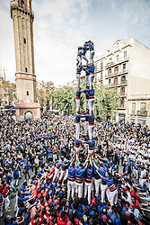November 20, 2016 - Barcelona, Catalonia, Spain - The 'Castellers de la Vila de Gracia' build one of their human towers during a 'diada castellera' at Barcelona's Gracia quarter (Credit Image: © Matthias Oesterle via ZUMA Wire)