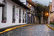 A colonial style cobble stone street in the historic center of Xalapa, Veracruz, Mexico.