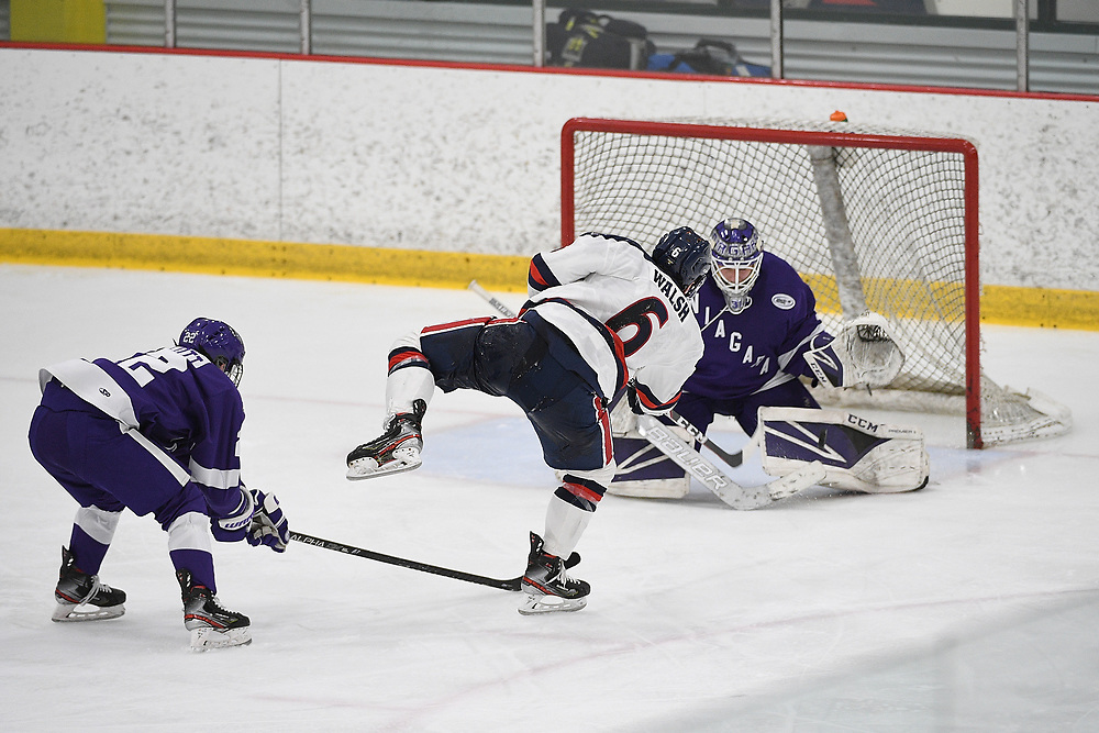 PITTSBURGH, PA - MARCH 12: Darcy Walsh #6 of the Robert Morris Colonials scores the game winning goal in overtime to give the Colonials a 3-2 win over the Niagara Purple Eagles during Game One of the Atlantic Hockey Quarterfinal series at Clearview Arena on March 12, 2021 in Pittsburgh, Pennsylvania. (Photo by Justin Berl/Robert Morris Athletics)