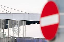 Ein Einfahrt verboten Schild vor dem Logo an der Fassade der Generali Arena. Der FK Austria Wien wurde in erster Instanz die Lizenz aufgrund von Finanzproblemen fuer die Bundesligasaison 2021/22 verweigert, aufgenommen am 20.04.2021, Wien, Oesterreich // A driveway prohibited sign in front of the logo on the facade of the Generali Arena. FK Austria Wien was denied a license for the 2021/22 Bundesliga season in the first instance due to financial problems, Vienna, Austria on 2021/04/20. EXPA Pictures © 2021, PhotoCredit: EXPA/ Florian Schroetter