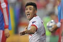 """May 27, 2017 - Harrison, New Jersey, U.S - New York Red Bulls midfielder GONZALO VERÃ""""N (30) reacts to being fouled at Red Bull Arena in Harrison New Jersey New York defeats New England 2 to 1 (Credit Image: © Brooks Von Arx via ZUMA Wire)"""