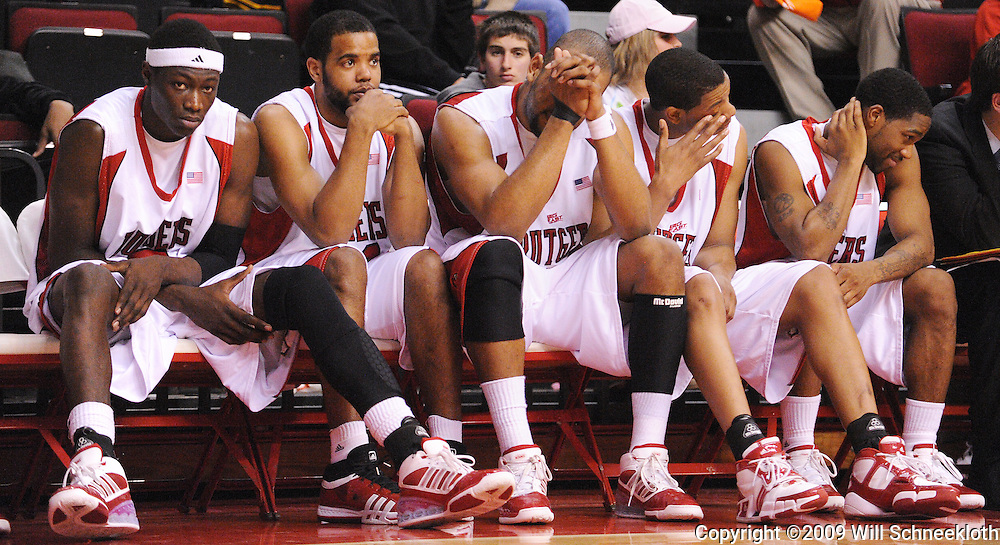 Feb 22, 2009; Piscataway, NJ, USA; The Rutgers bench during the closing minutes of their 74-56 loss to West Virginia at the Louis Brown Athletic Center.