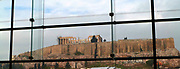 Views of the Acropolis, the ancient citadel located on a high rocky outcrop above the city of Athens, viewed from the Museum of the Parthenon