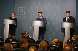 June 15, 2017 - Kiev, Ukraine - Sweden Foreign Minister Margot Wallstrom, Ukrainian Foreign Minister Pavlo Klimkin and Lithuanian Foreign Minister Linas Antanas Linkevicius ( L-R) take part at a press-conference in Kiev, Ukraine, 15 June,2017. (Credit Image: © Str/NurPhoto via ZUMA Press)