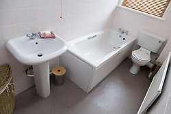 A bathroom in show flat of a warden aided complex for older people,
