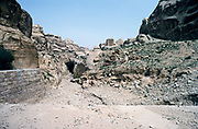 Ancient water supply tunnel at archaeological site at Petra, Jordan in 1998