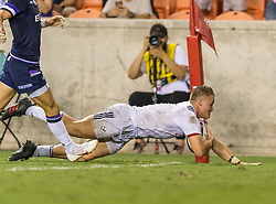 June 16, 2018 - Houston, Texas, US - USA Men's Rugby Team flanker Hanco Germishuys (7) scores a try during the Emirates Summer Series 2018 match between USA Men's Team vs Scotland Men's Team at BBVA Compass Stadium, Houston, Texas (Credit Image: © Maria Lysaker via ZUMA Wire)