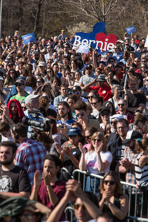 """Brooklyn, NY - 17 April 2016. A small part of the crowd of thousands who came to hear Sanders speak. Vermont Senator Bernie Sanders, who is running as a Democrat in the U.S. Presidential primary elections, held a campaign """"get out the  vote"""" rally in Brooklyn's Prospect Park."""