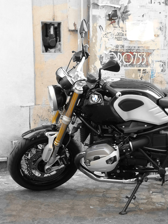 The R Nine T from BMW Motorrad is one of their most popular models in Europe.  Designed to recall the Cafe Racers of the 1960s and 70s yet still provide all of the leading edge technology BMW is known for, we found this one in Rome.
