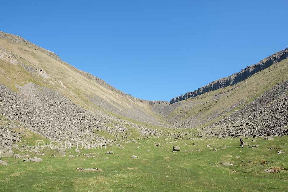 The Whin Sill lines the rim of the wide U-shaped HIgh Cup valley.