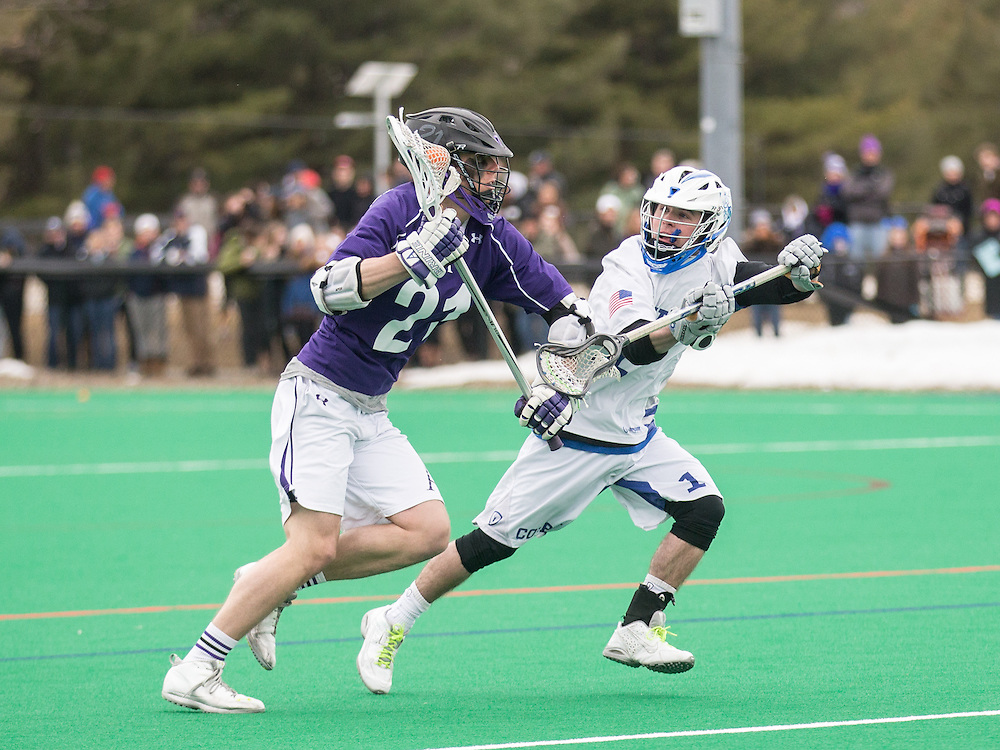 Brendan McNeill of Colby College, during a NCAA Division III men's lacrosse game against at Amherst College on April 11, 2015 in Waterville, ME. (Dustin Satloff/Colby Athletics)