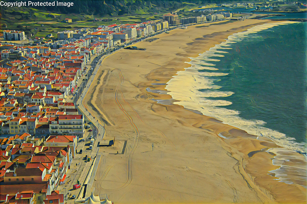 Portugal Atlantic fishing and beach town, Nazare in Feb. 2012