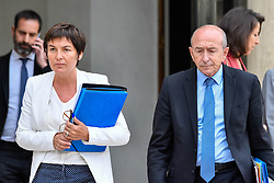 September 6, 2017 - Paris, Ile de France, France - French Overseas Minister Annick Girardin (L) and French Interior Minister Gerard Collomb (R) leave after the weekly cabinet meeting at the Elysee French presidential palace on September 6, 2017 in Paris. (Credit Image: © Julien Mattia/NurPhoto via ZUMA Press)