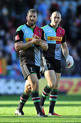 Chris Robshaw of Harlequins and Mike Brown are all smiles after the match - Photo mandatory by-line: Patrick Khachfe/JMP - Mobile: 07966 386802 04/10/2014 - SPORT - RUGBY UNION - London - The Twickenham Stoop - Harlequins v London Welsh - Aviva Premiership