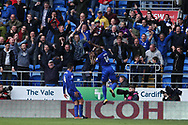 Sol Bamba of Cardiff city (14) celebrates with the Cardiff city fans after he scores his teams 1st goal to equalise at 1-1 in injury time. EFL Skybet championship match, Cardiff city v Sheffield Wednesday at the Cardiff City Stadium in Cardiff, South Wales on Saturday 16th September 2017.<br /> pic by Andrew Orchard, Andrew Orchard sports photography.