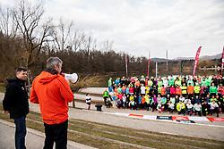 David Skabar, zupan Sezane in Dejan Crnek, pozupan Mestne obcine Ljubljana, Priprave za Ljubljanski maraton 2019 v sodelovanju s sezanskim Malim kraskim maratonom, on March 9, 2019, in Mostec, Ljubljana, Slovenia. Photo by Vid Ponikvar / Sportida