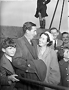 """31/08/1953<br /> 08/31/1953<br /> 31 August 1953 <br /> Rescue at sea by trawler """"Uncle Pat"""" of three Co. Dublin men who spent a night in a row boat at Dun Laoghaire.  One of the lucky men pleased to be back on dry land."""