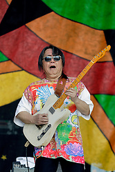 02 May 2015. New Orleans, Louisiana.<br /> The New Orleans Jazz and Heritage Festival. <br /> June Yamagishi plays the Congo Square stage.<br /> Photo; Charlie Varley/varleypix.com