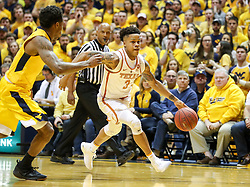 Jan 20, 2018; Morgantown, WV, USA; Texas Longhorns guard Jacob Young (3) drives to the basket during the first half against the West Virginia Mountaineers at WVU Coliseum. Mandatory Credit: Ben Queen-USA TODAY Sports
