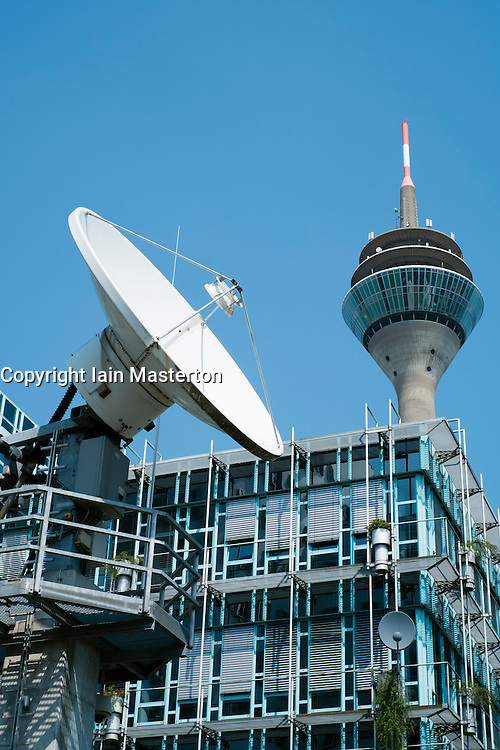 Satellite dish outside offices of WDR German television station in Medienhafen Dusseldorf Germany