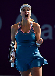 DOHA, Feb. 13, 2019  Anett Kontaveit of Estonia reacts after winning the single's first round match against Zhu Lin of China at the 2019 WTA Qatar Open in Doha, Qatar, on Feb. 12, 2019. Anett Kontaveit won 2-0. (Credit Image: © Yangyuanyong/Xinhua via ZUMA Wire)