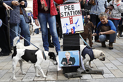 "© Licensed to London News Pictures. 07/10/2018. London, UK. Pro-Remain dogs surround a pee station decorated with a photo of Boris Johnson during a march to parliament to demand a ""People's Vote"" on the final Brexit agreement. Photo credit: Peter Macdiarmid/LNP"