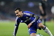 Pedro of Chelsea smiles as he loses the ball. Barclays Premier league match, Chelsea v Newcastle Utd at Stamford Bridge in London on Saturday 13th February 2016.<br /> pic by John Patrick Fletcher, Andrew Orchard sports photography.