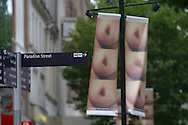 Controversial posters by Yoko Ono, the wife of ex-Beatle John Lennon, adorn city centre streets in Liverpool to promote the Biennial, the UK's largest contemporary arts festival..Photograph © Colin McPherson, 30/09/2004..Tel: +44 (0)7831 838717.Email: mail@colinmcpherson.co.uk