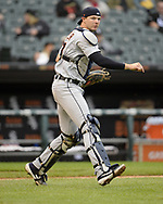 CHICAGO - SEPTEMBER 28:  Grayson Greiner #17of the Detroit Tigers catches against the Chicago White Sox during the first game of a double header on September 28, 2019 at Guaranteed Rate Field in Chicago, Illinois.  (Photo by Ron Vesely)  Subject:   Grayson Greiner