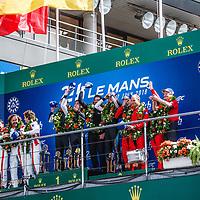 Podium GTE AM: 1. Dempsey-Proton Racing, #77, Porsche, 2. Spirit of Race, #54, Ferrari, 3. Keating Motorsports #85, Ferrari, on 17/06/2018 at the 24H of Le Mans, 2018