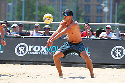 June 9, 2018 - New York, NY, U.S. - NEW YORK, NY - JUNE 09:  Stafford Slick returns during play on the Stadium Court of the AVP New York Coty Open on June 9, 2018, at Hudson River Park's Pier 25/26, New York, NY.  (Photo by Rich Graessle/Icon Sportswire) (Credit Image: © Rich Graessle/Icon SMI via ZUMA Press)