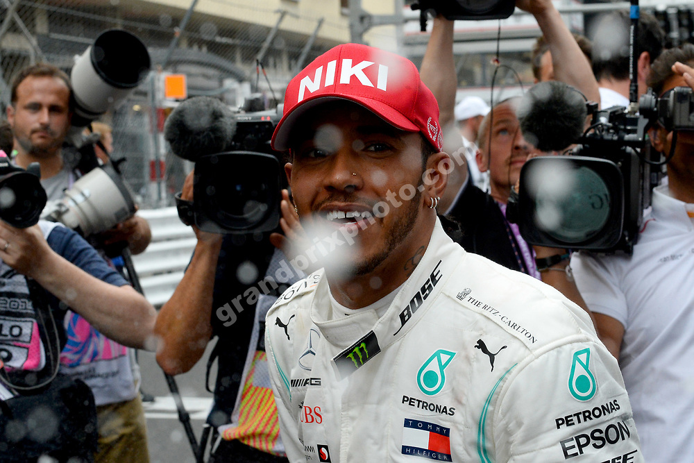 Lewis Hamilton (Mercedes) with champagne after the 2019 Monaco Grand Prix. Photo: Grand Prix Photo