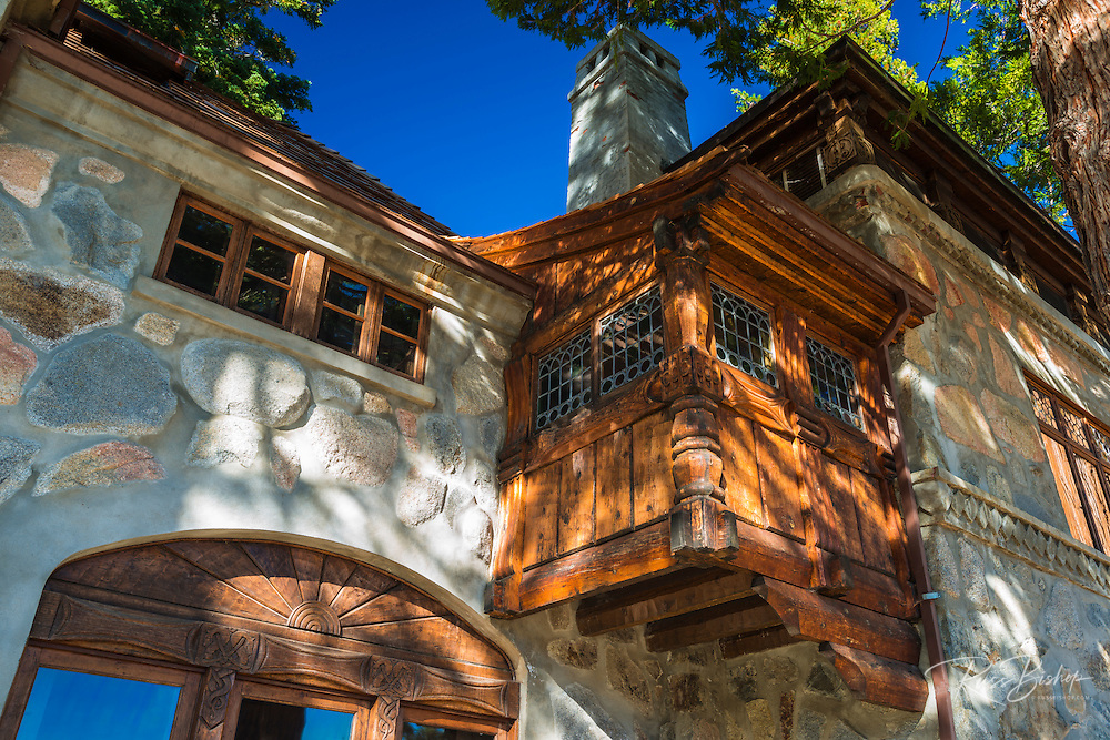 Exterior detail at Vikingsholm castle, Emerald Bay State Park, Lake Tahoe, California USA