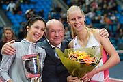 Moscow, Russia, 17/10/2004..The WTA Kremlin Cup tennis tournament. Moscow Mayor Yuri Luzhkov awards prizes to woman's singles champion Anastasia Myskina and runner up Elena Dementieva.