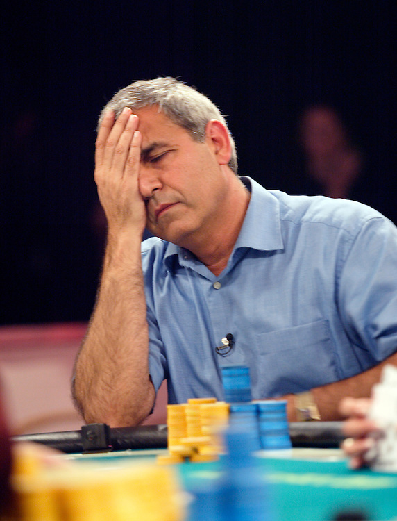 September 2, 2003: The pressure builds as Mel Judah tries to keep his comeback alive during the final round at the World Poker Tour event at the Bicycle Club in Los Angeles.